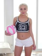 Cute soccer player Cleo Vixen drains her trainers balls