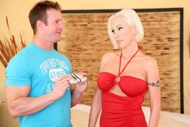 Skinny blonde cougar in heat get nailed by a much younger guy