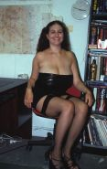 Plump office babe with huge natural tits posing in sexy lingerie