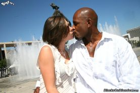hairy Bobbi Starr inserting a big black cock up her round ass