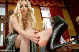Aiden Starr femdom on high heels strips latex dress posing her kinky feet