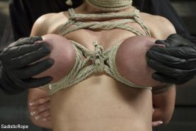 Darling begins with her huge tits bound tightly and her neck tied secured by rop