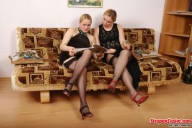 Susanna and Etta and George strapon sissy orgy