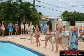 Mean sorority girls hazing and humiliating pledges at the poolsi