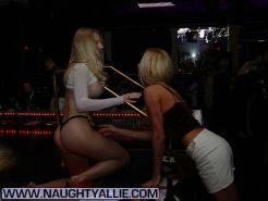 Blonde babe teasing in limousine