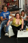 Plumper at the party is fucked and so are her fat friends as the slender guys ge