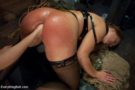 Latex Big Ass girl anal fisting and hard domination with rough sex