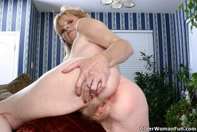 Small titted granny Lynn spreads hairy pussy #73521898