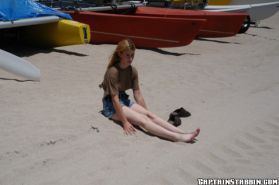 Skinny girl whitney spreads her big clit under the sun