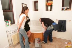This plumber's plunger is way too small to impress Shay