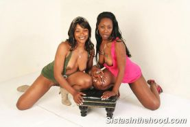 Sweet ebony babes lesbian strapon sex and pussy licking
