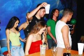 Sex hungry people group fucking at drunk party in night club