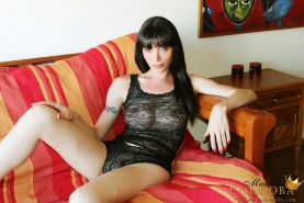 Amazing Brunette Shemale Mariana Cordoba shows us her massive cock in black lace