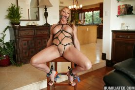 Busty Milf slut gets gagged fucked and jizzed in her mouth