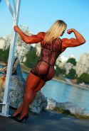 Tall and ripped female bodybuilder gifted gorgeous body