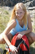Busty amateur teen hiker strips naked in nature