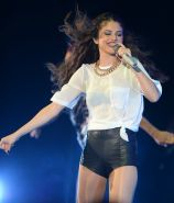 Selena Gomez leggy  see through to bra at the 'Stars Dance' tour performance in