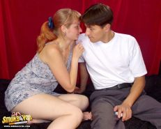 Sexy young couple are smoking while fucking