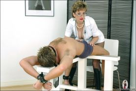 Cock milking mature fetish nurse in  kinky boots and fishnets