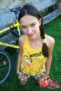 amateur brunette teen gets nailed outdoors after riding bicycle
