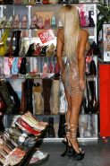 Shauna Sand pumping gas on station in fuck me boots paparazzi pictures
