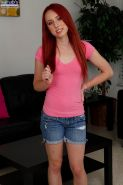 Small titted redhead teen Sofie Carter fingers twat