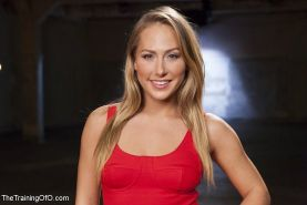 Carter Cruise blonde submissive is strap bound and toyed to orgasm by leather ma
