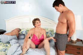 Dirty Blond Granny Bea Fucking Young Dick While Hubby Is Watchin
