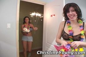 Christine Young in hardcore lesbian fun on camera