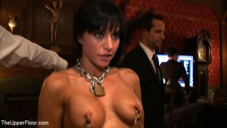 Gia DiMarco slave at kinky bdsm party spanked and toyed