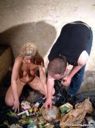 Extreme garbage girl humiliation and bizarre veggie insertions of spanked and pu