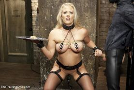 Holly Heart blonde bdsm milf is fucked in bondage with big tits exposed