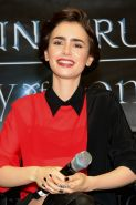 Lily Collins leggy and see-through to bra at The Mortal Instruments signing in P