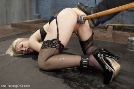 Ella Nova stockings blonde in bdsm training is bound and pussy fucked