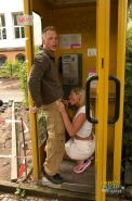 Sex hungry german couple fucking outdoors in a phone booth