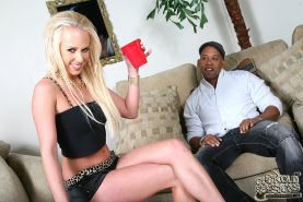 Hot blonde Carla Cox goes black in front of a pitiful cuckold