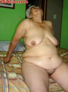 Blue dildo in big fat pussy from old grandma