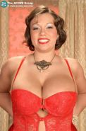 Victoria Lane in red lingerie shows off her huge natural boobs