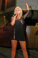 Nicole Coco Austin showing amazing curveas braless in short c-thru dress at the