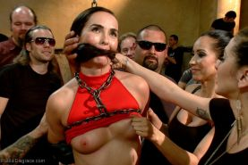 Public disgrace  bdsm sex in public  babe gets tied up used as sex toy fisted an