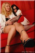 Mature lesbian stocking legs lover Lady Gina and Lady Justine