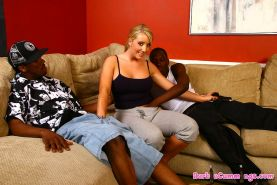busty blonde Barbie Cummings gets creampied by hung blacks