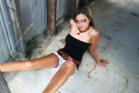 Craving Carmen Teases By Garage Wall