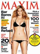 Bar Refaeli naked but hiding in new Maxim Magazine and Elle France issues