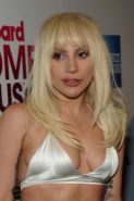 Lady Gaga busty in tiny white bra and skirt in public