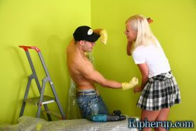 Blonde get clothes tore off by angry painter before he cum on her mouth