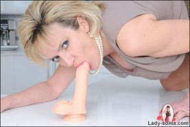 Dildo riding on counter top british milf sonia in her kitchen