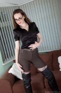 Sexy librarian turned hairy girl Mystique loves her nylons