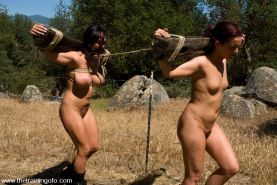 Slave babes Sara Faye and Claire Dames trained to fuck at the Ranch