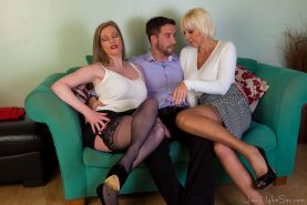 Hot MILFS in stockings Jan and Holly fuck one luck guy